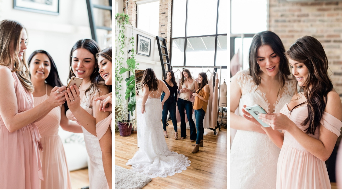 Take pictures and write down your favorite wedding day looks to look back on and try them on later to decide how you feel of them it's a perk of a revelry try-on party for both brides and bridesmaids