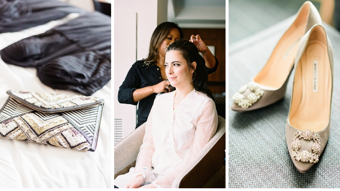 Three detail photos of wedding day bride geting her hair done her clutch and bridesmaid dress on bed and her wedding day shoes