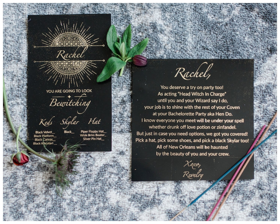Poem from Revelry with gold font on Black paper talking about hen party with flowers and incense