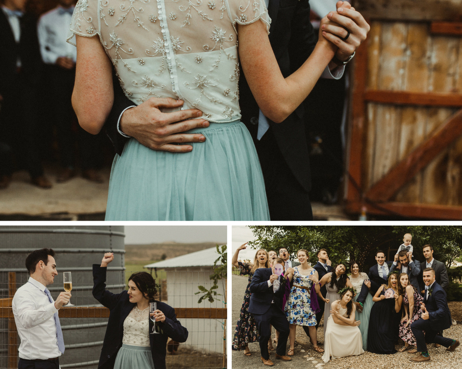 Bride and groom pose with friends and share first dance as husband and wife on special day