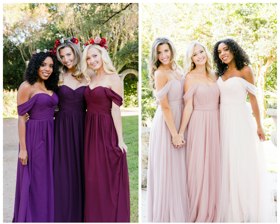 tulle versus chiffon, which fabric is right for your wedding and your bridesmaids? Either one you choose, our convertible dresses will be perfect for each bridesmaids unique look.