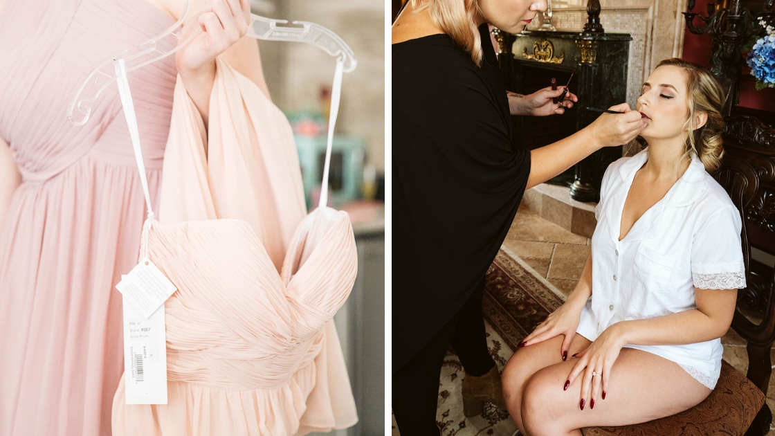 Two photos close up of dresses pink and peach chiffon gown and bride in white pajamas getting ready on wedding day with lipstick and makeup