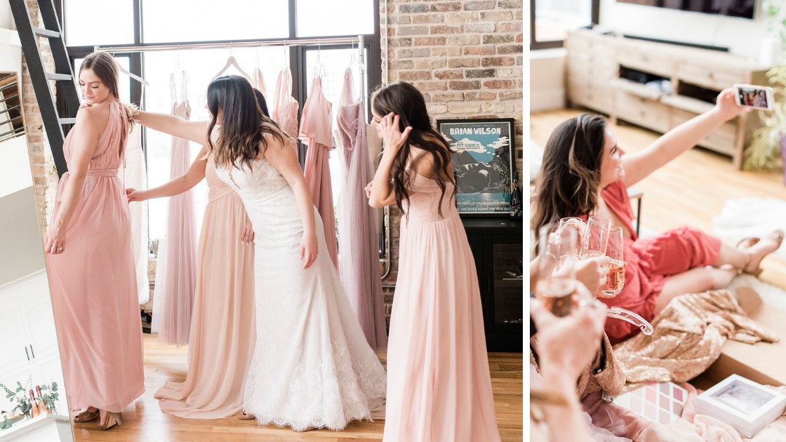 Two photos of 4 person bridal party all different chiffon pink and blush bridesmaid dresses posing in downtown loft bride taking a selfie with besties at try on party with revelry in front of mirror