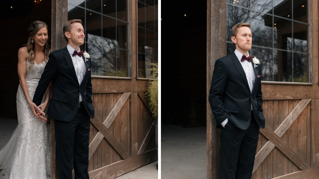 two photos showing revelry bride in decklyn art deco wedding dress have first touch by barn door smile and laugh groom in black tux with red bowtie