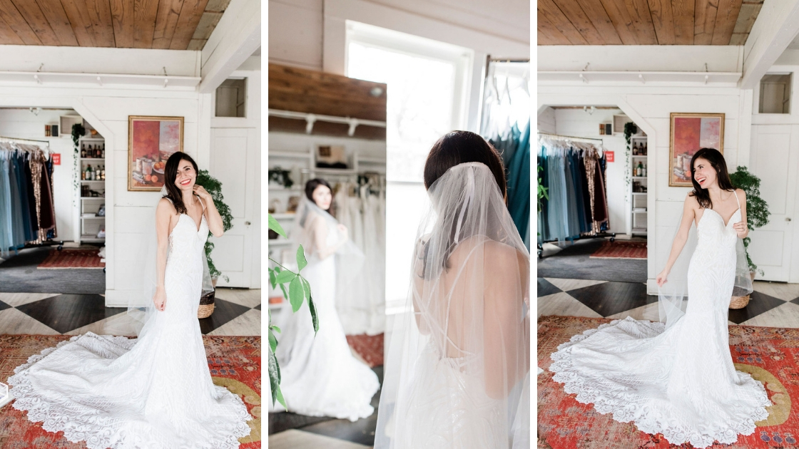 Veil shot adriana bride in raden sequin revelry wedding dress whisper white red rug three different photos at Revelry try on party