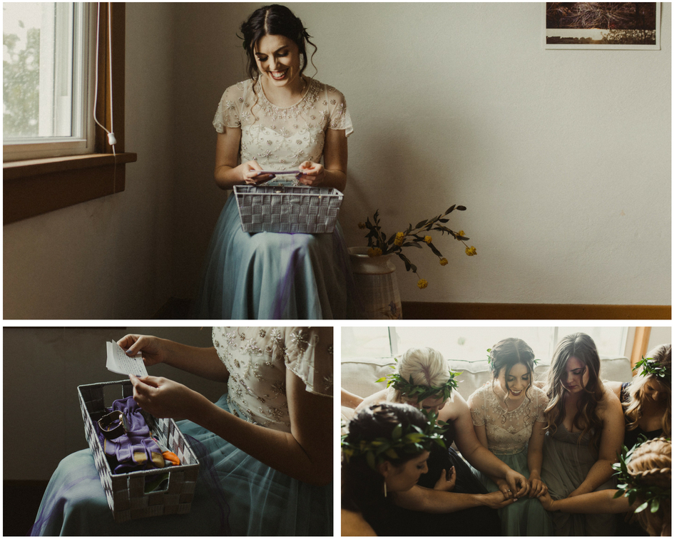 Bride reads note from groom and opens gift before wedding and prays with her friends