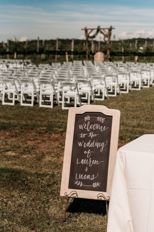 Welcome to wedding ceremony chalkboard sign outdoor vineyard summer wedding