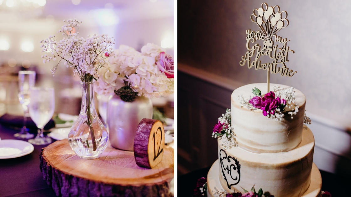 White teared wedding cake purple and pink flowers up movie you are my greatest adventure table settings babys breath