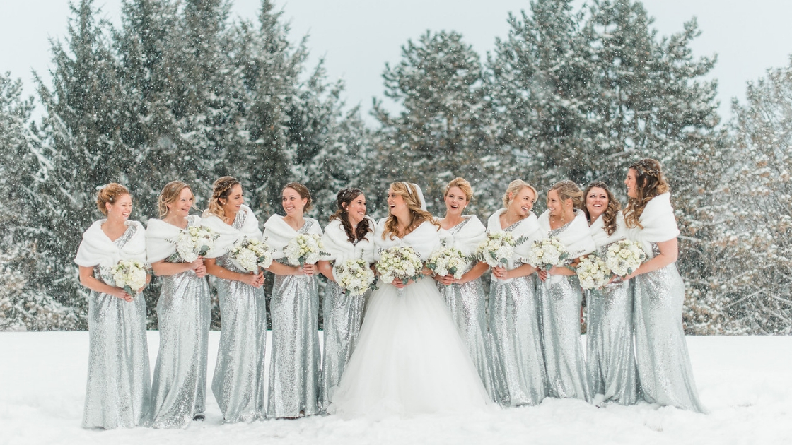 Winter christmas wedding bridesmaidsin silver sequin revelry gowns
