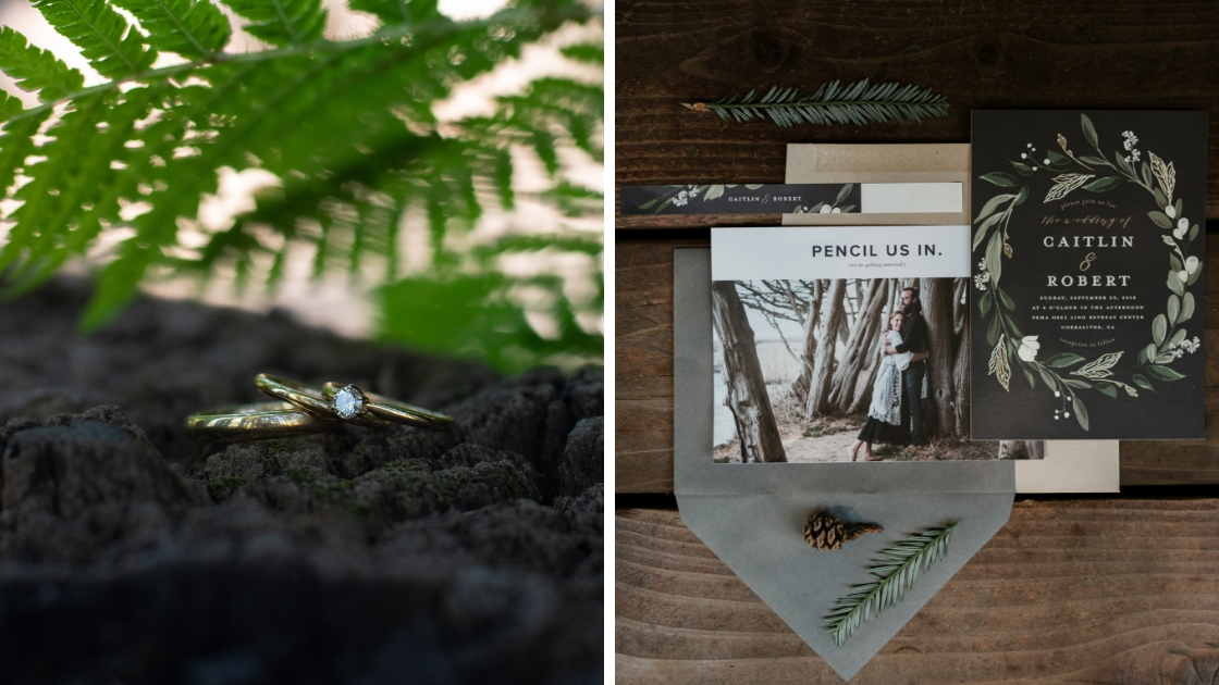 detail shot caitlin robert wedding redwoods trees nature greenery greys ring shot and invitations